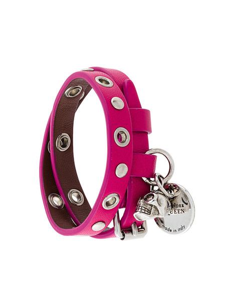 skull women leather purple pink jewels