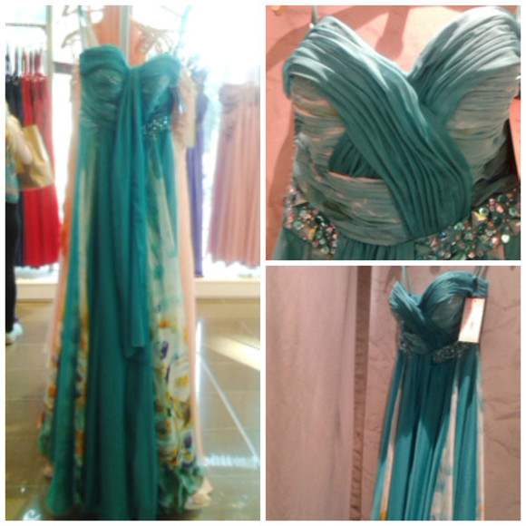 dress teal dress mint floral dress chiffon green dress ombre dress long ruched bodice yellow jewelled waistline graduation dress deb dress blue dress sweetheart neckline