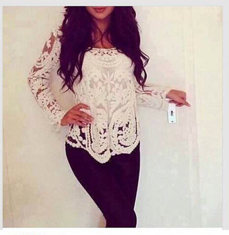 blouse lace top white blouse top fall top outfit t-shirt