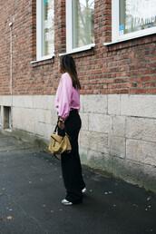 pants,tumblr,yellow bag,loewe bag,wide-leg pants,top,pink top,sweatshirt,sneakers,black wide-leg velvet pants