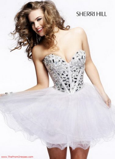 Sherri Hill 1403 White Strpless Glass Beaded Party Dress [Sherri Hill 1403 White] - $175.00 : Prom Dresses 2014 Sale, 70% off Dresses for Prom