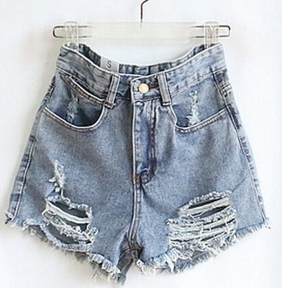 las mujeres 2014 pantalones cortos femininos cosecha de cintura alta shorts rasgados agujero corto punk en de en Aliexpress.com