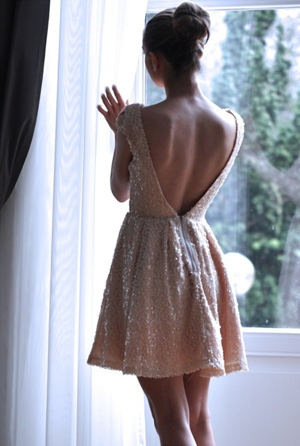 dress backless open back sequins peach dress sequin dress sparkly dress gold dress gold sequins dress pink glitter white sequins short dress prom dress cute dress white dress gold sequins white short dress