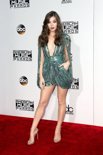 romper gown plunge v neck hailee steinfeld sandals shorts blouse glitter red carpet american music awards belt