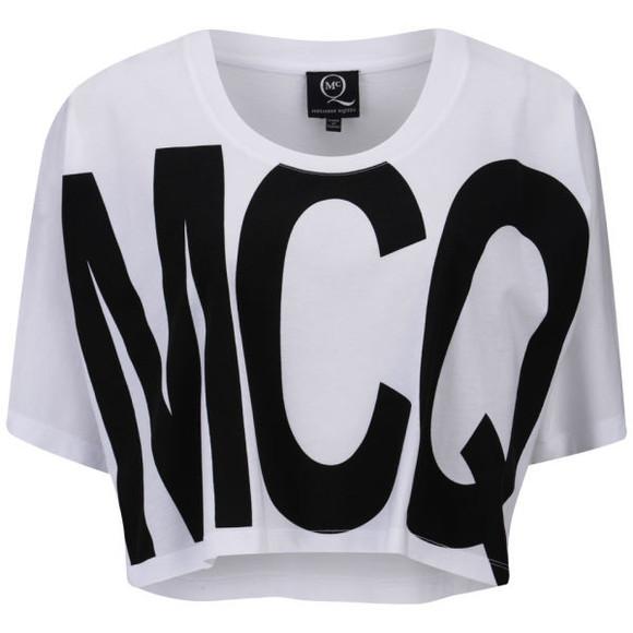 alexander mcqueen t-shirt mcq alexander mcqueen women's logo print cropped t-shirt mcq