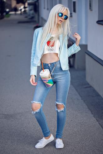 oksana orehhova fashion secrets with oksana blogger crop tops blue jacket mirrored sunglasses ripped jeans streetstyle