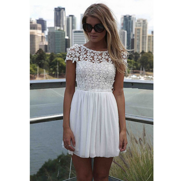 dress white dress white lace lace dress splicing dress backless halter neck