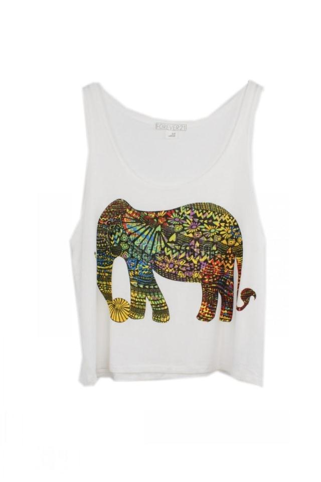 S M L Plus Size Women Fashion Loose Vest Tank, White Gray Elephant Print Cotton Sleeveless Blouse, 2014 Summer Bottoming Shirts-inTank Tops from Apparel & Accessories on Aliexpress.com