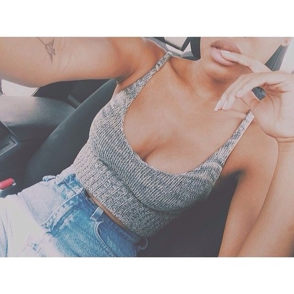 tank top shirt top grey knitwear flare top knitted crop top