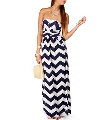 Chevron Strapless Maxi Dress