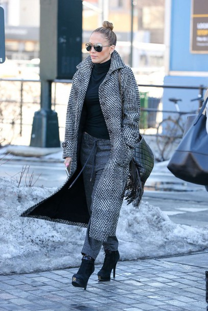 coat jennifer lopez boots winter outfits shoes