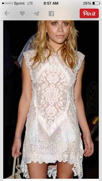 ashley olsen white dress lace dress dress beautiful dress lovely