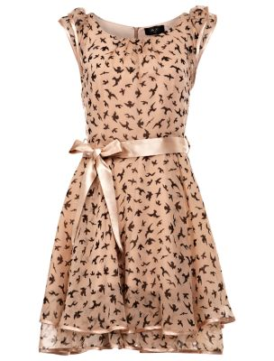 AX Paris Nude Swallow Print Ruffle Dress