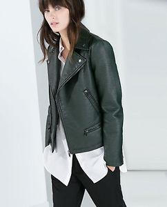 Basic Dark Green Faux Leather Jacket Sz S NWOT Coat
