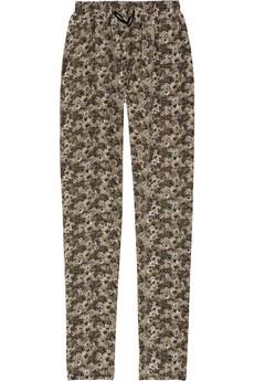 Print silk crepe de chine pants