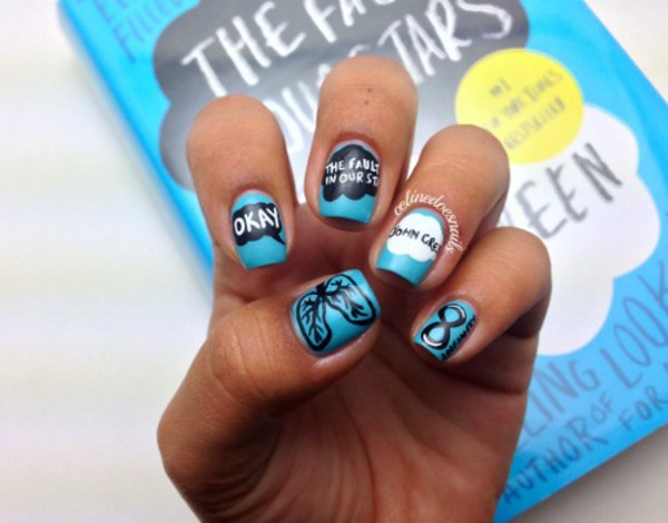 nail polish the fault in our stars blue black white