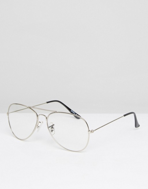 ASOS Geeky Clear Lens Silver Aviator Glasses at asos.com