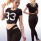 Women's sporty sexual stretch crop top weaved leggings set