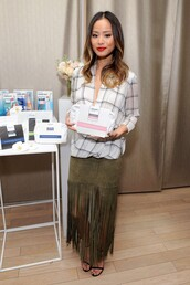 blouse,fringes,jamie chung,leather skirt,sandals,shoes