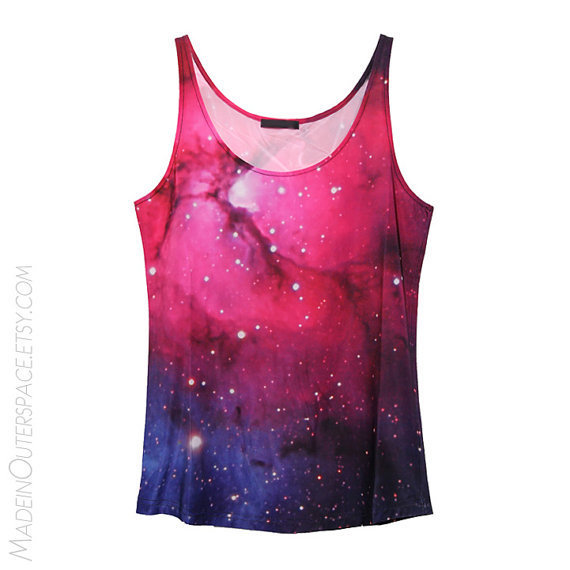 Pink/Purple Galaxy Stars Universe Tank Top Tee T-Shirt on Wanelo