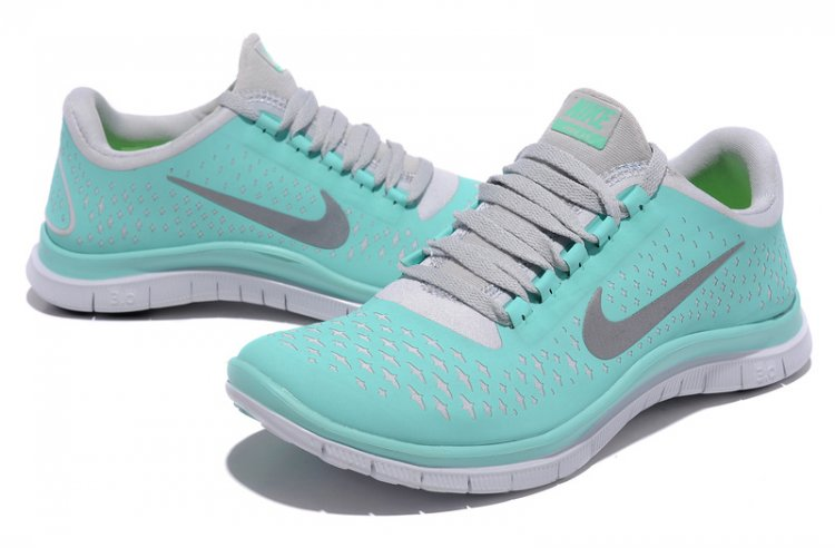Nike free 3.0 v4 womens tiffany blue reflect silver shoes