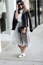 skirt,midi skirt,metallic pleated skirt,t-shirt,gucci bag,white sneakers,leather jacket,crossbody bag,blogger,blogger style