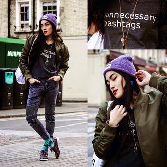 alessandra kamaile blogger jacket jeans hat socks jewels graphic tee army green jacket khaki bomber jacket