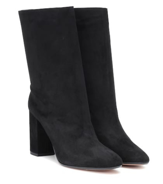 Aquazzura Boogie 85 suede ankle boots in black