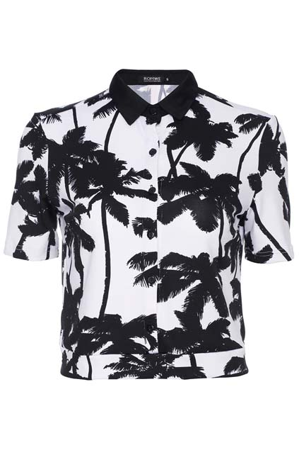 ROMWE | ROMWE Palm Print Midriff Shirt, The Latest Street Fashion
