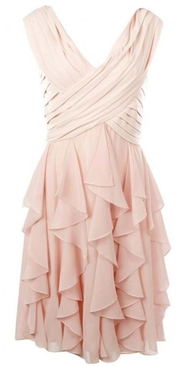 dress clothes ruffle skirt pink dress cream v neck cute pink ruffle birthday dress party dress frill champagne dress chiffon