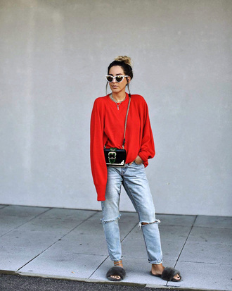sweater tumblr knitwear knit red sweater denim jeans blue jeans ripped jeans shoes furry shoes bag crossbody bag sunglasses cat eye