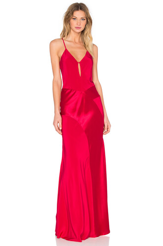 gown v neck red dress