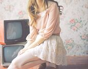 sweater,skirt,girly,cute,tumblr,hipster,indie,dress,966656,vintage,springboard,958641,lace skirt,collared shirts,pink blouse,pastel pink blouse