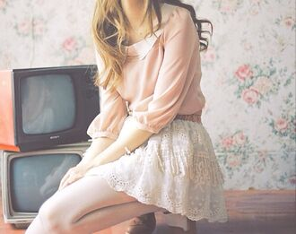 sweater skirt girly cute tumblr hipster indie dress 966656 vintage springboard 958641 lace skirt collared shirts pink blouse pastel pink blouse