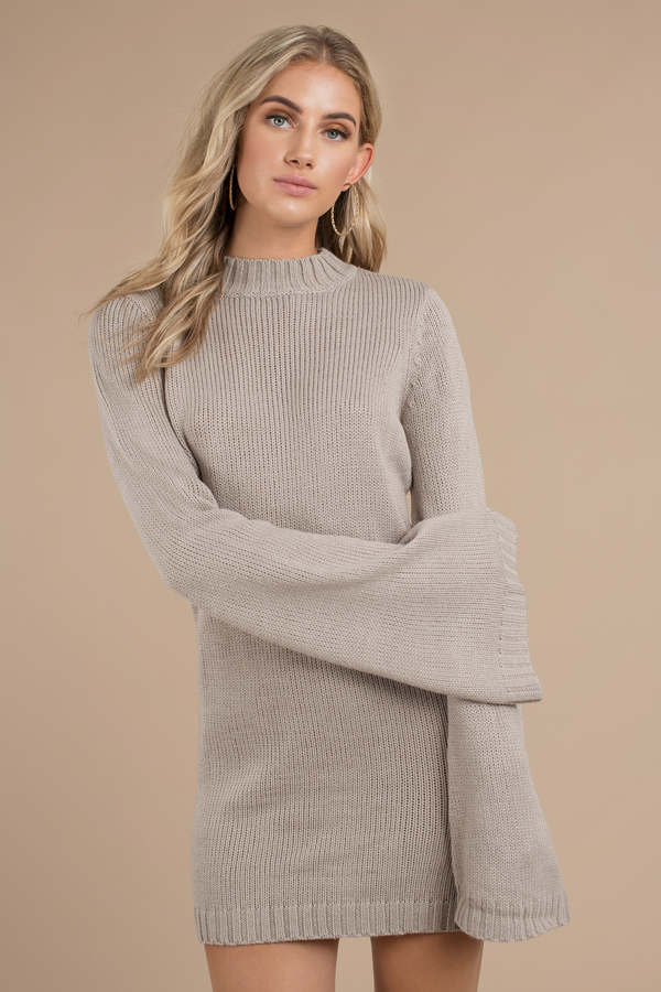 Warm Nights Taupe Bell Sleeve Sweater Dress