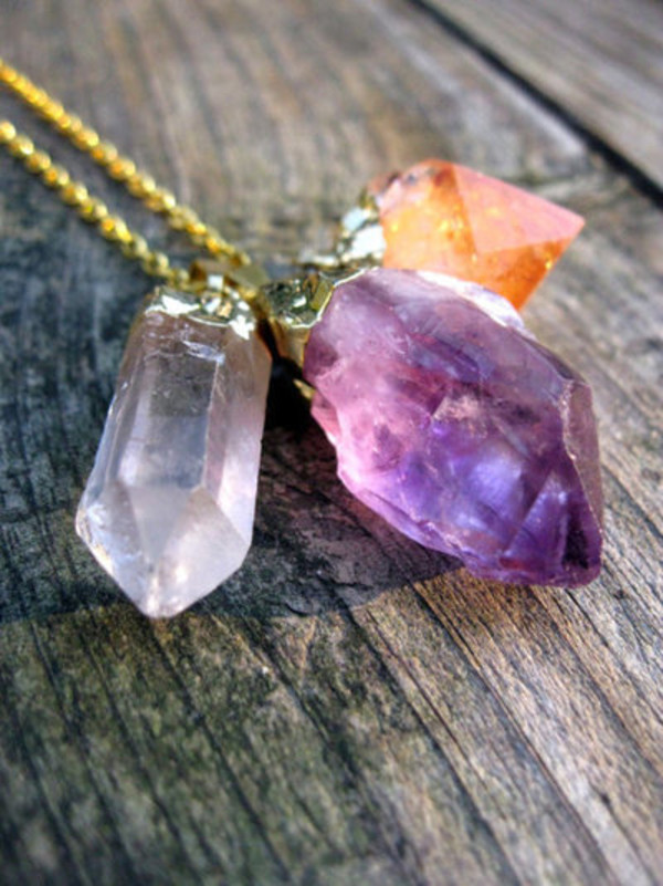 jewels jewelry crystal stone necklace pretty trendy purple cool accessories colorful raw stone