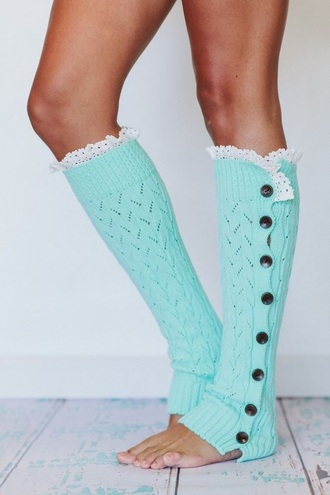 socks tiffany blue cute long knee high buttons