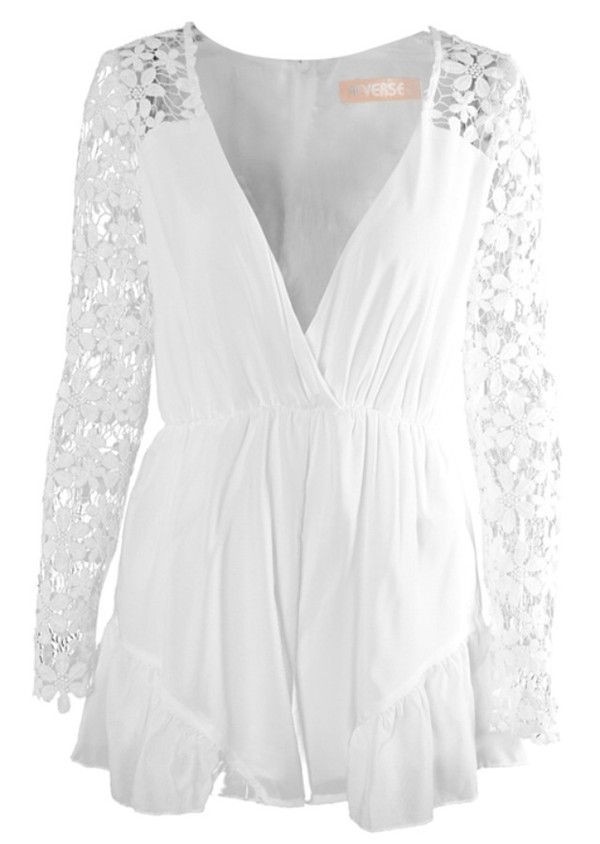 blouse jumpsuit white jumpsuit romper playsuit white laces lace jumpsuit lace playsuit dress white white dress pretty summer outfits