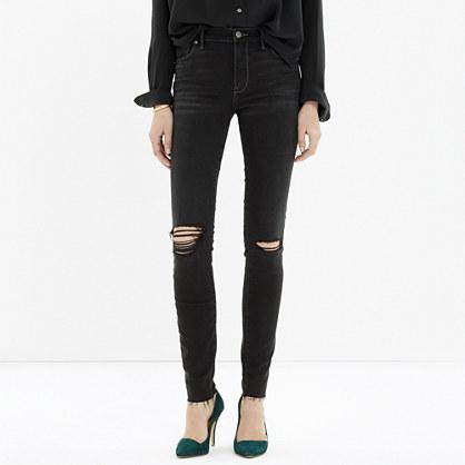High Riser Skinny Skinny Cut-Edge Jeans in Black Sea