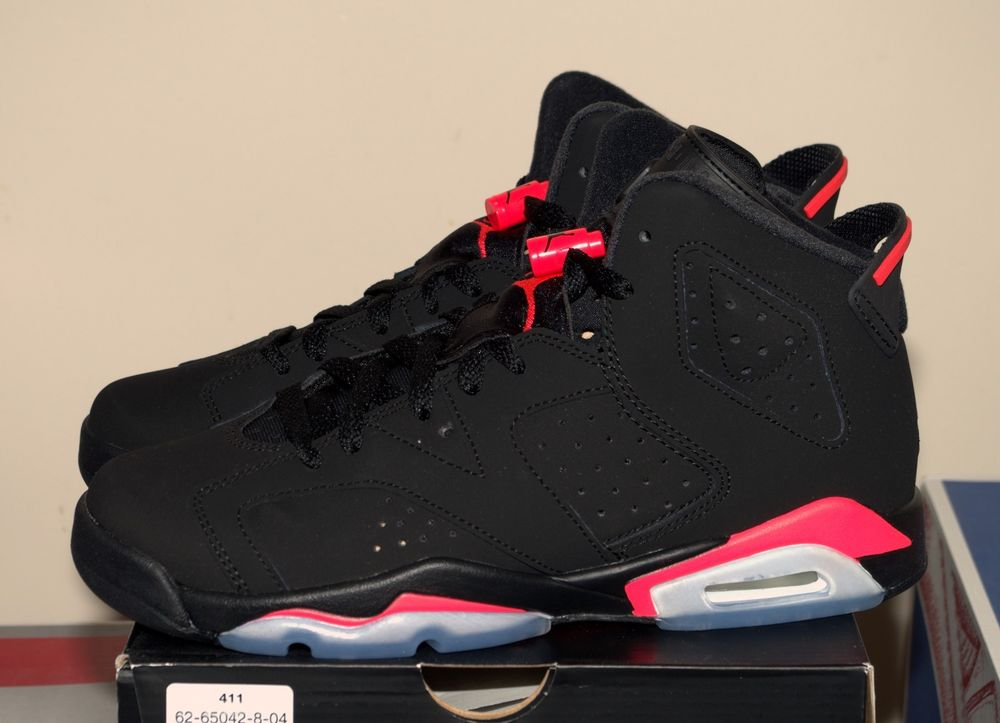 promo code b621f b0ee1 Nike Air Jordan 6 sz 7 Retro Black Infrared Red 23 GS BG 384665-023 bred 3M  VI