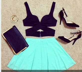top black croptop black criss cross criss-cross skirt blue skirt