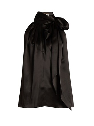 blouse sleeveless silk satin black top