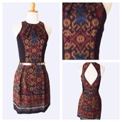 dress,brown,hippie,indian,vintage,ikat,cotton,short dress,mini dress,soka,sale,discount