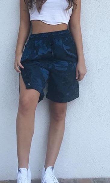 shorts navy blue thigh shorts