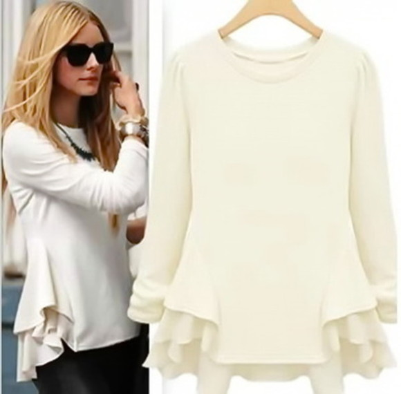 blouse olivia palermo black women's top beige top peplum peplum top long sleeve long sleeved celebrity style steal celebrity style celebrities women's fashion beige blacktop fall clothes fall fashion