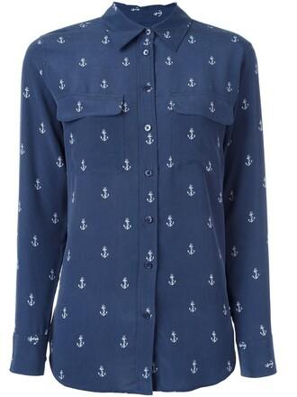 shirt button down shirt anchor women anchor print print blue silk top