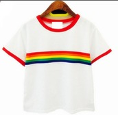 shirt,rainbow,aesthetic,aesthetic shirt,pale aesthetic,rainbow 70's look,70s inspired