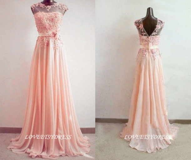 Dress pink prom dress wedding dress lace prom dress for Lace maxi wedding dress