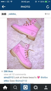 shoes,timberlands boots,timberlands,pink