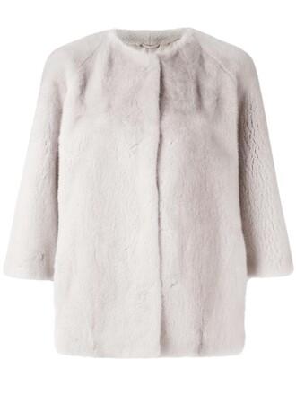 jacket fur women silk grey
